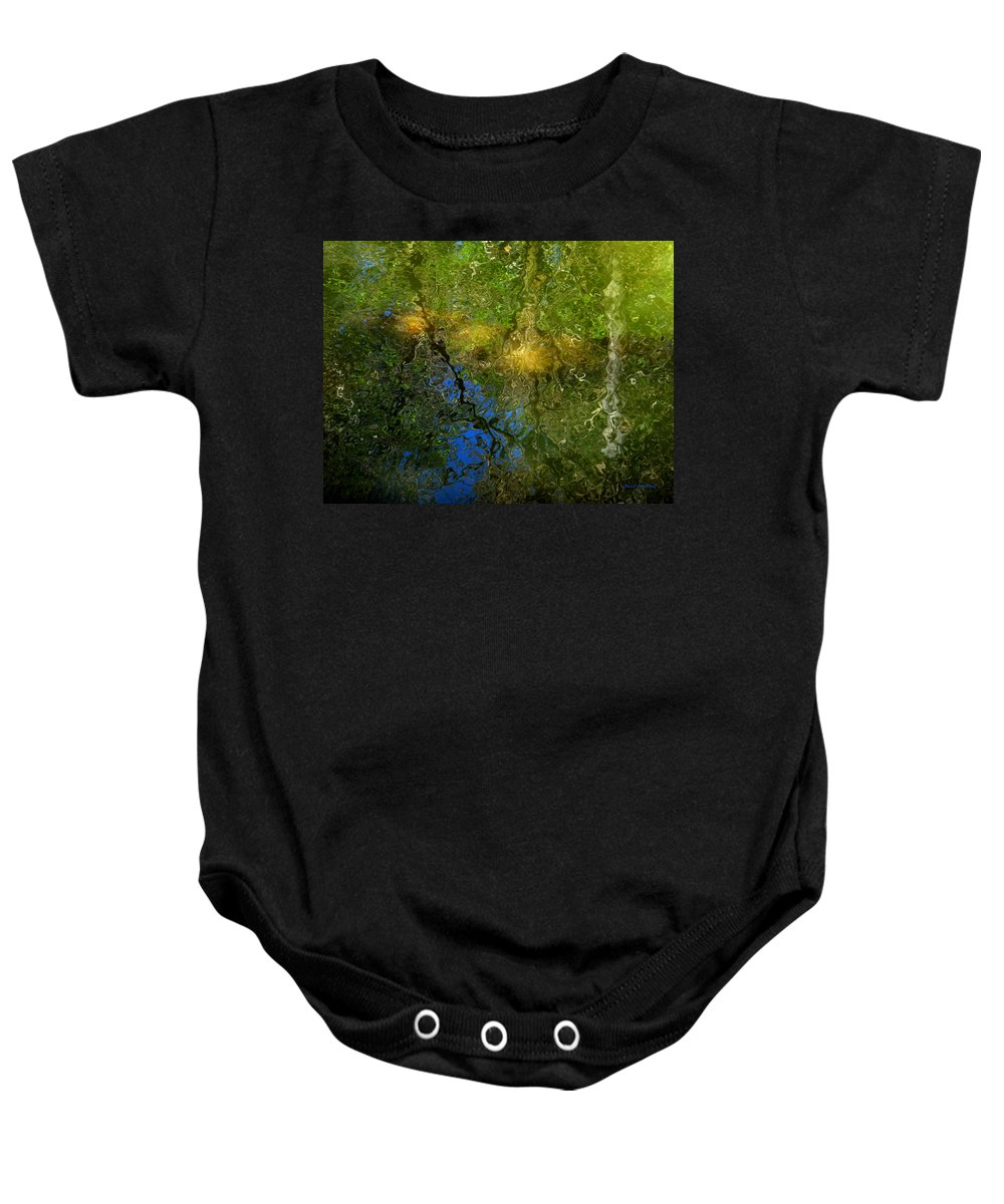 Water Baby Onesie featuring the photograph Sunlight Through Trees by Donna Blackhall