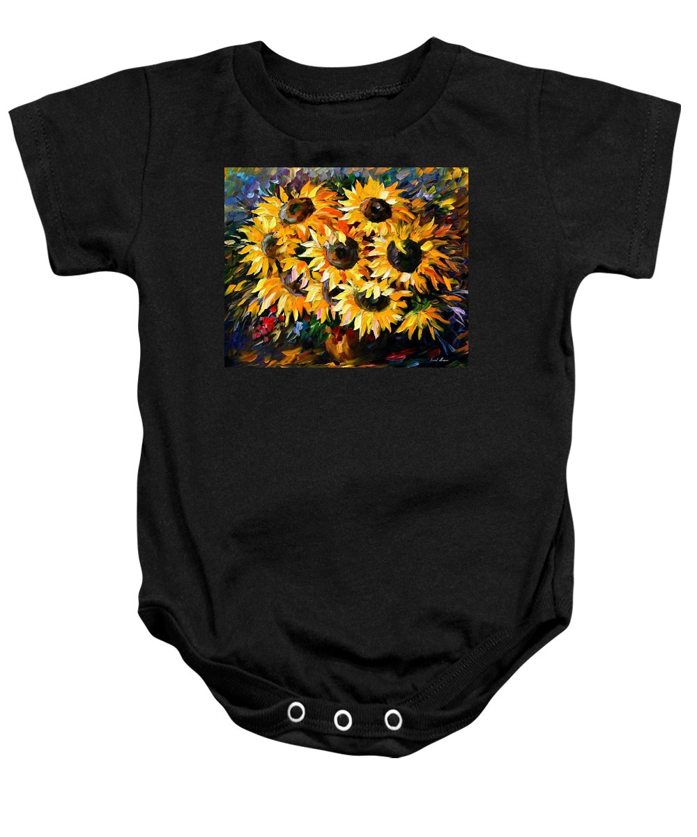 Floral Baby Onesie featuring the painting Sunny Bouquet by Leonid Afremov