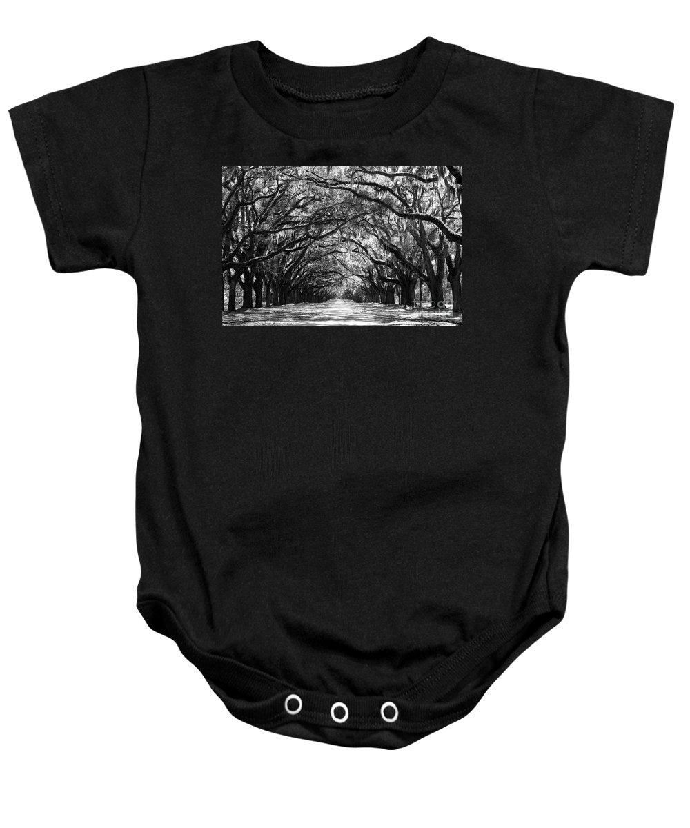 Live Oaks Baby Onesie featuring the photograph Sunny Southern Day - Black and White by Carol Groenen