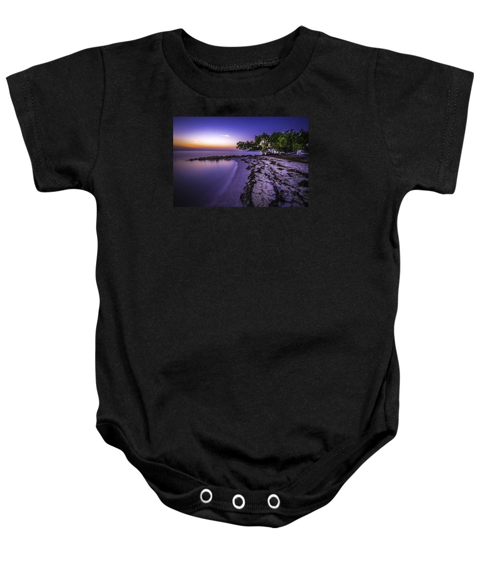 Sunrise Baby Onesie featuring the photograph End Of The Beach by Francisco Gomez