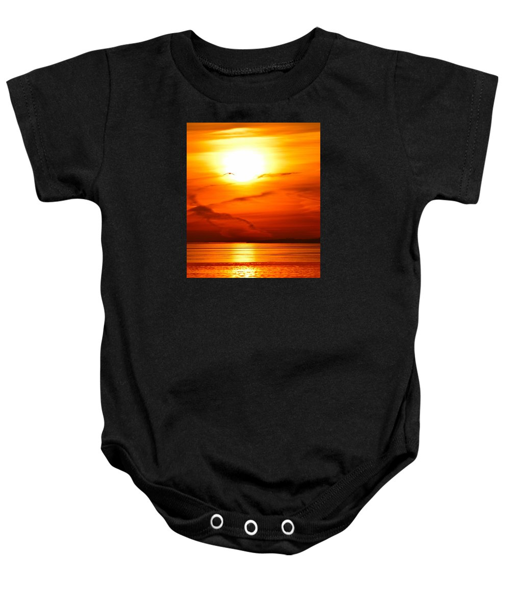 Abstract Baby Onesie featuring the photograph Sunrise Flying Two by Lyle Crump