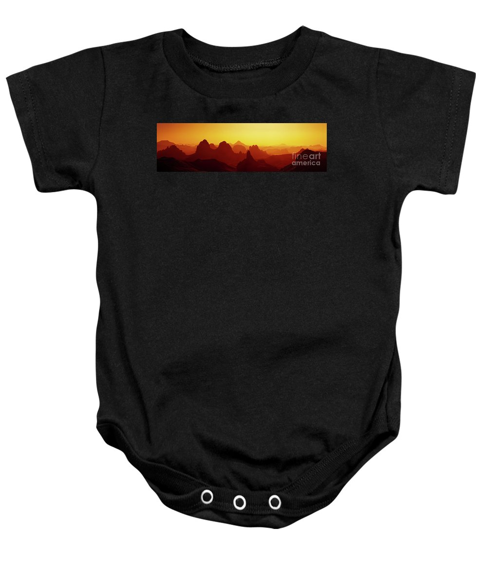 Abstract Baby Onesie featuring the photograph Sunrise In Sahara Desert by Dmitry Pichugin