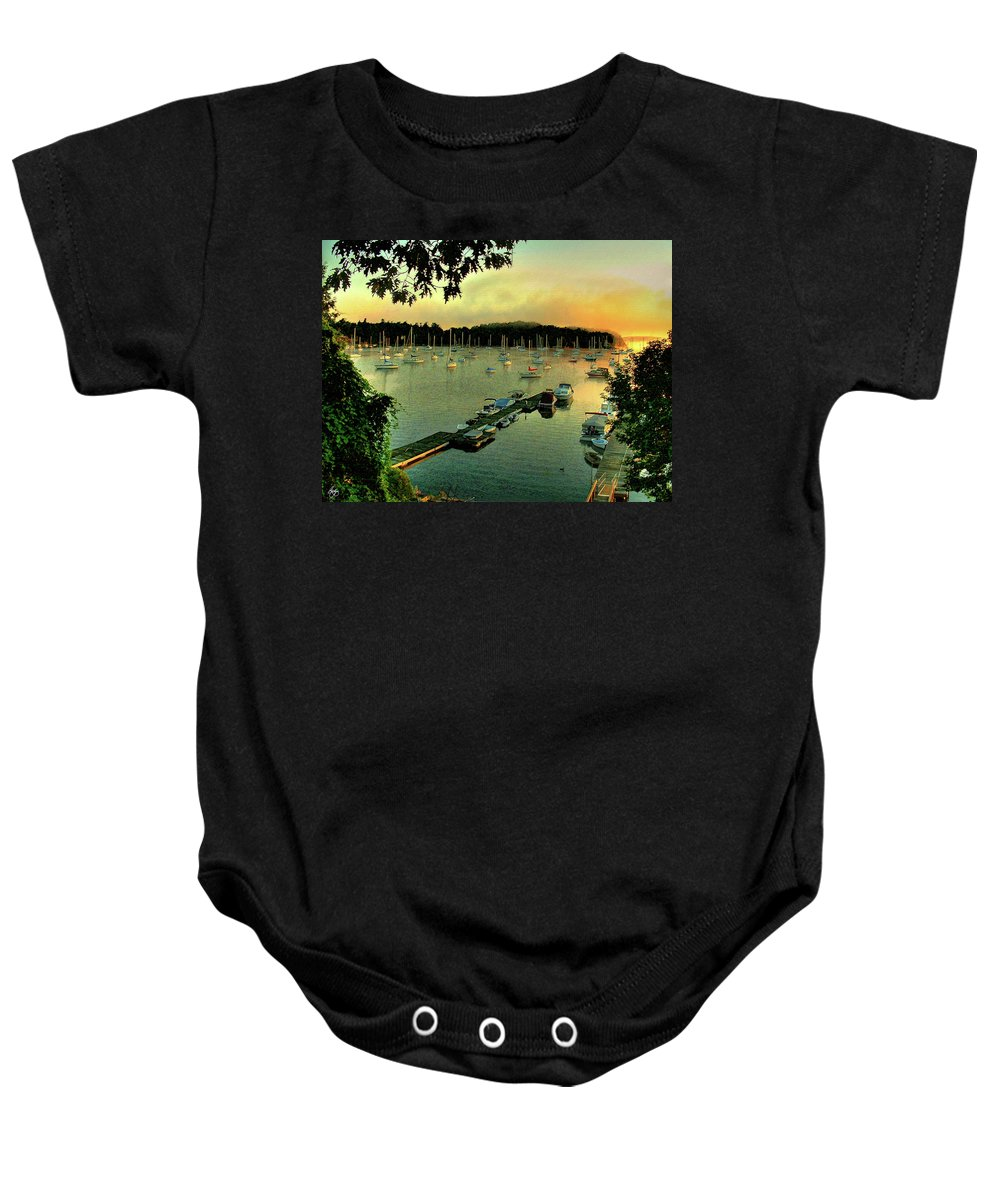 Mallet's Bay Baby Onesie featuring the photograph Sunrise On Mallet's Bay by Wayne King