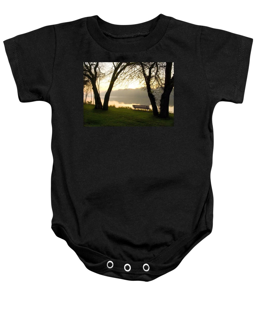 Sunrise Baby Onesie featuring the photograph Sunrise Over The Maumee by Jeffery Ball