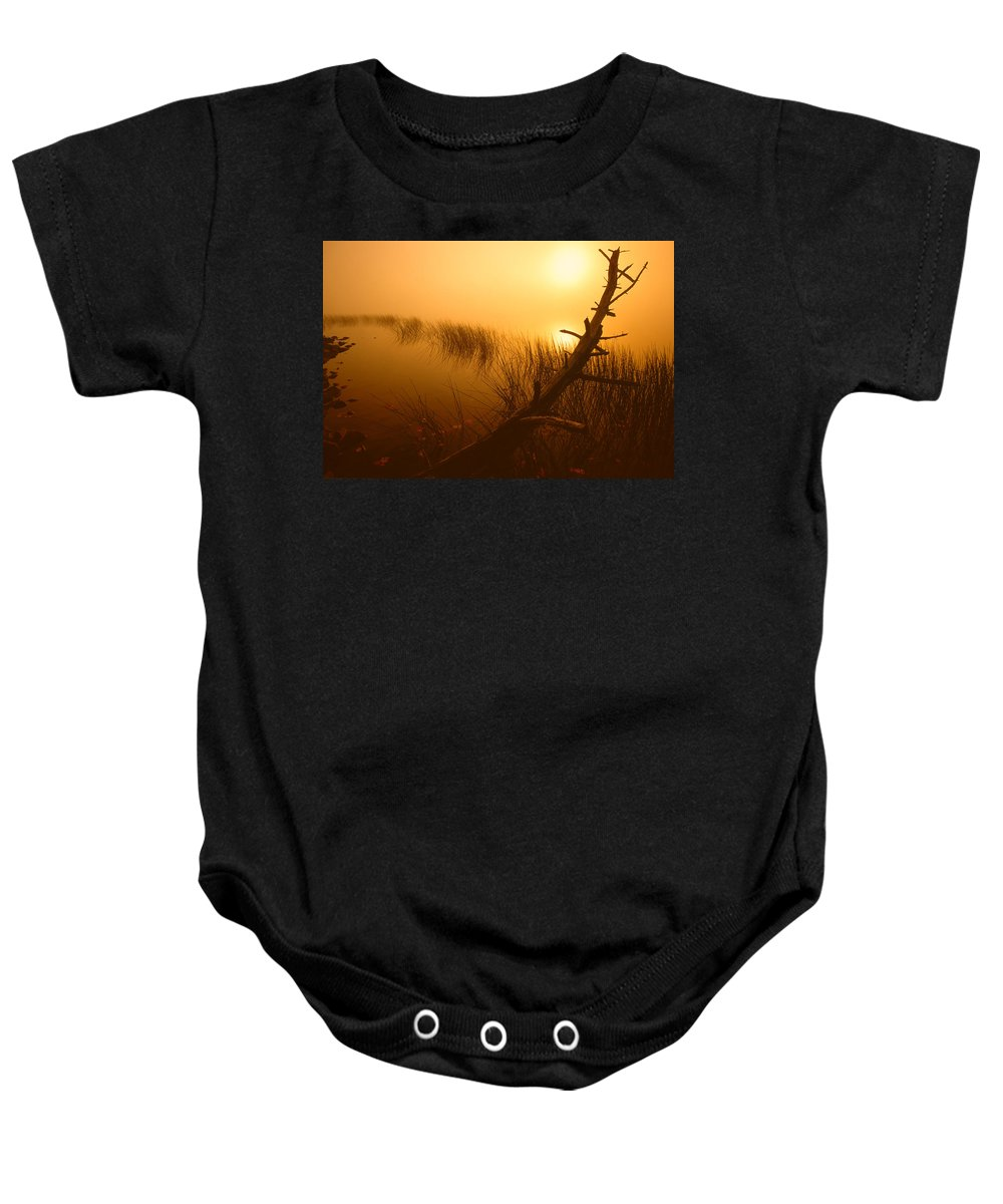 Misty Lake Baby Onesie featuring the photograph Sunrise Silhouettes by Irwin Barrett