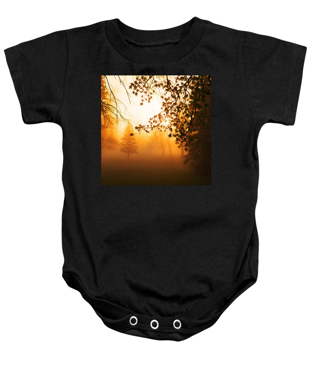 Sunrise Baby Onesie featuring the photograph Sunrise Trees Fog by Donald Erickson