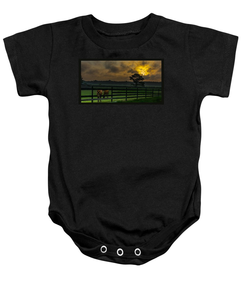 Sunrise Baby Onesie featuring the photograph Sunrise With Horses by James Hennis