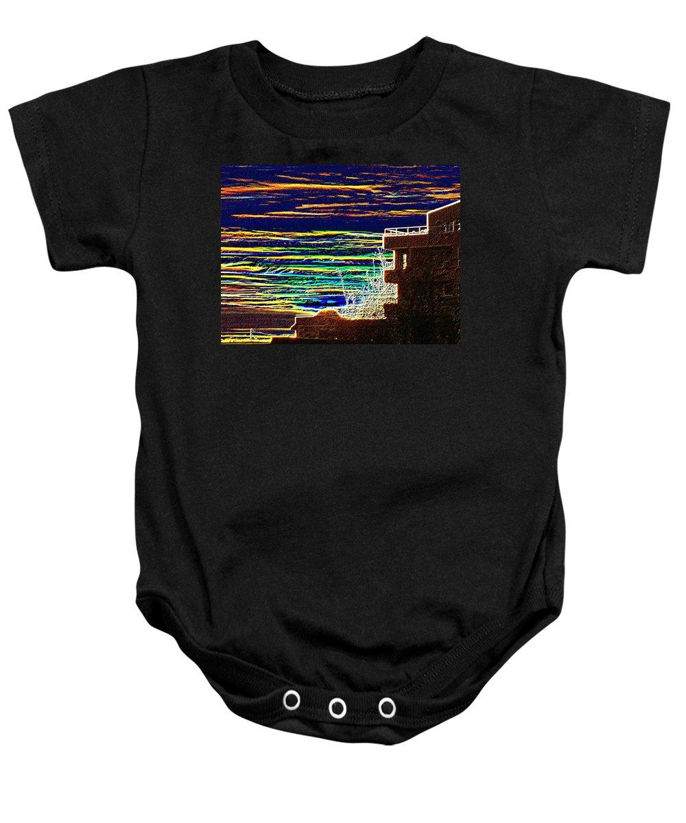 Seattle Baby Onesie featuring the digital art Sunset 1 by Tim Allen