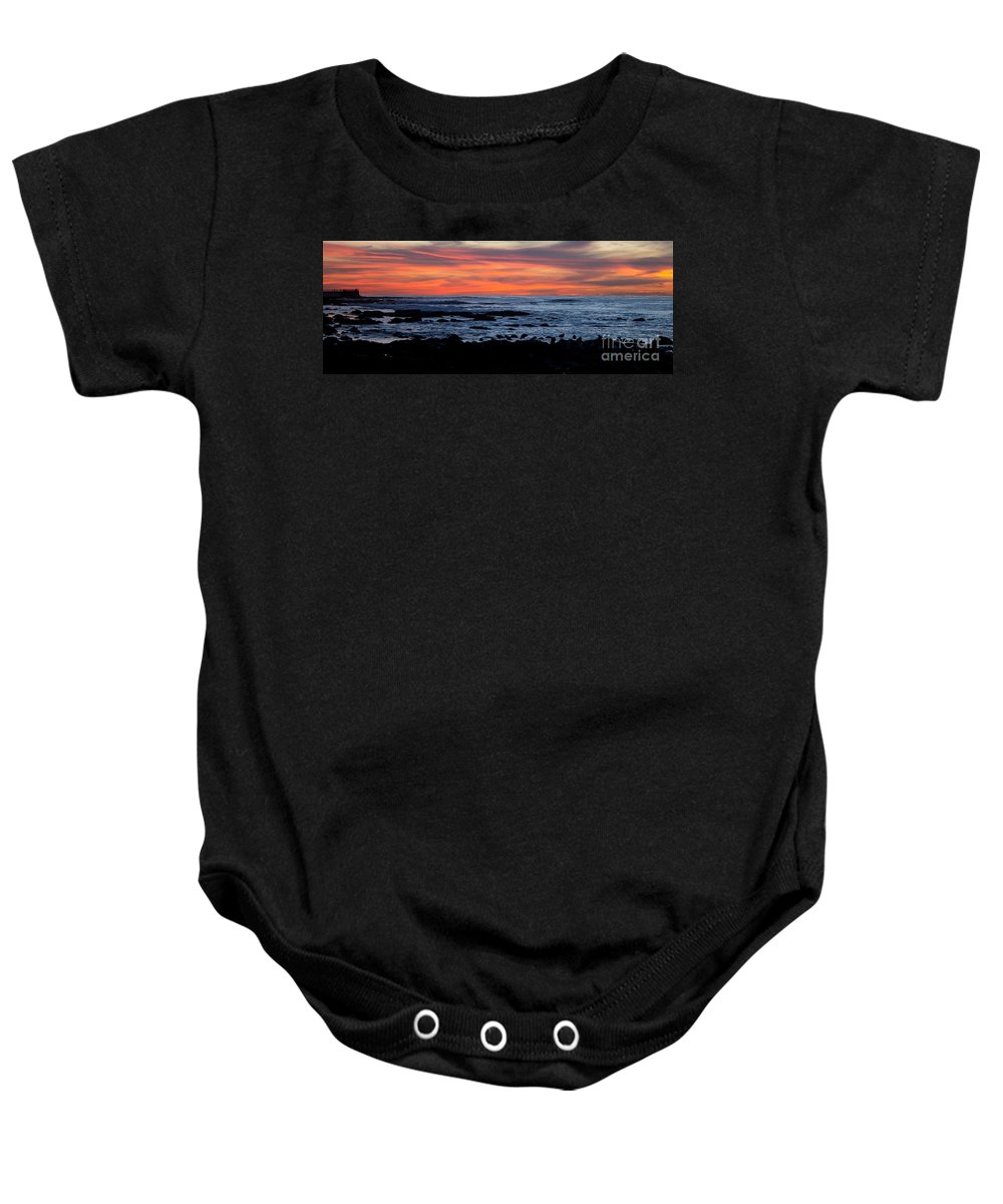 Sunset Baby Onesie featuring the photograph Sunset And Rocks by Samantha Glaze