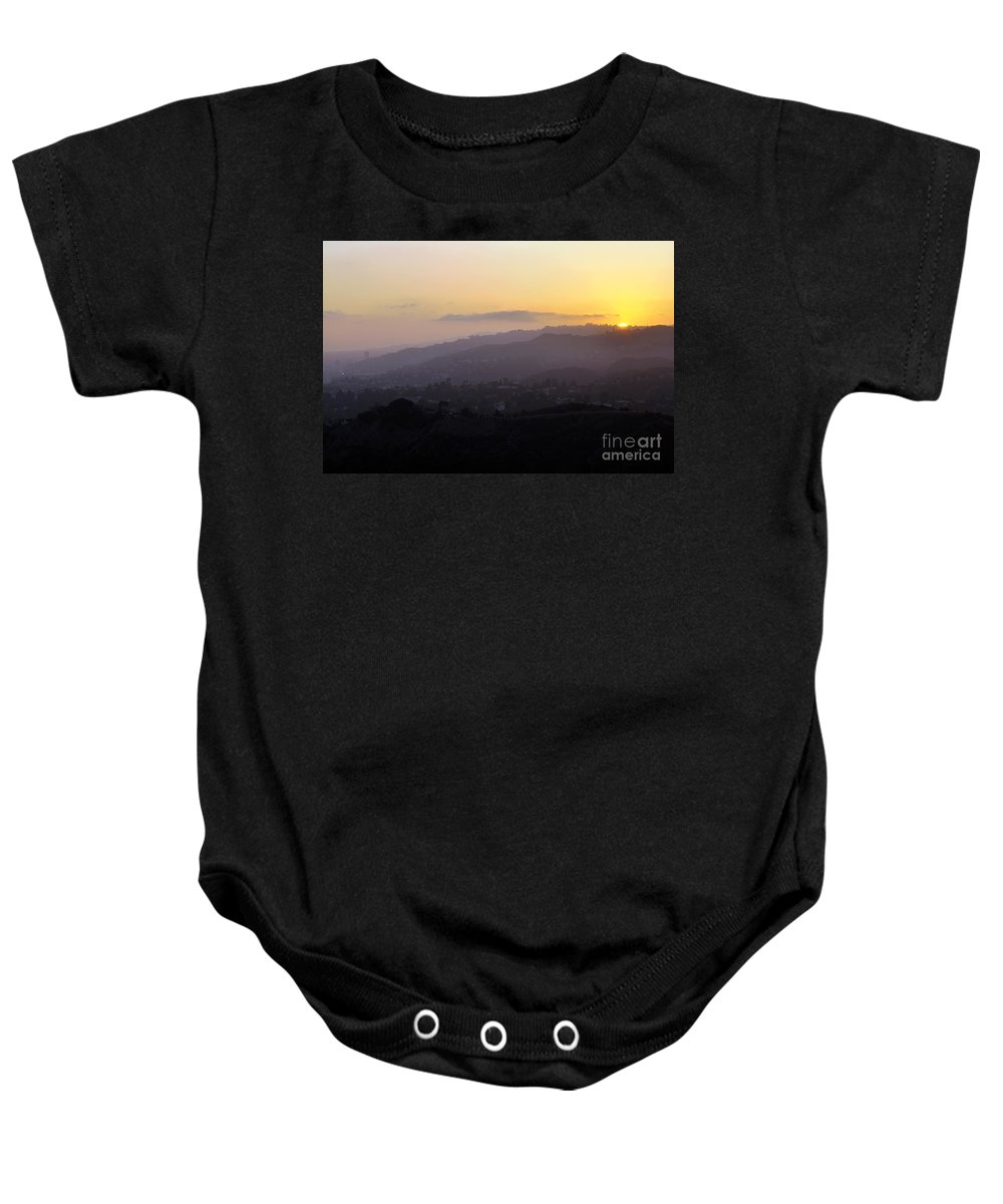 Clay Baby Onesie featuring the photograph Sunset At Griffeth Observatory by Clayton Bruster