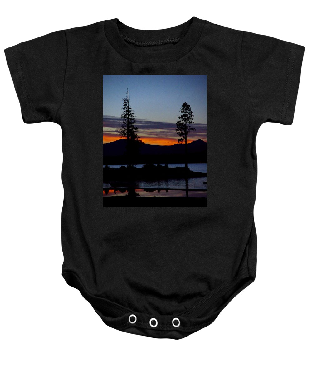 Lake Almanor Baby Onesie featuring the photograph Sunset At Lake Almanor by Peter Piatt