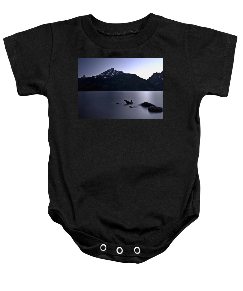 Nature Baby Onesie featuring the photograph Sunset At The Lake by John K Sampson