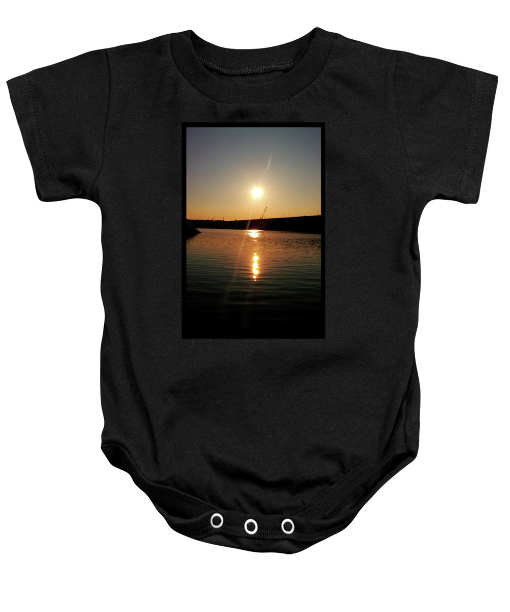 Lake Baby Onesie featuring the photograph Sunset At Wolf Creek Dam by Amber Flowers