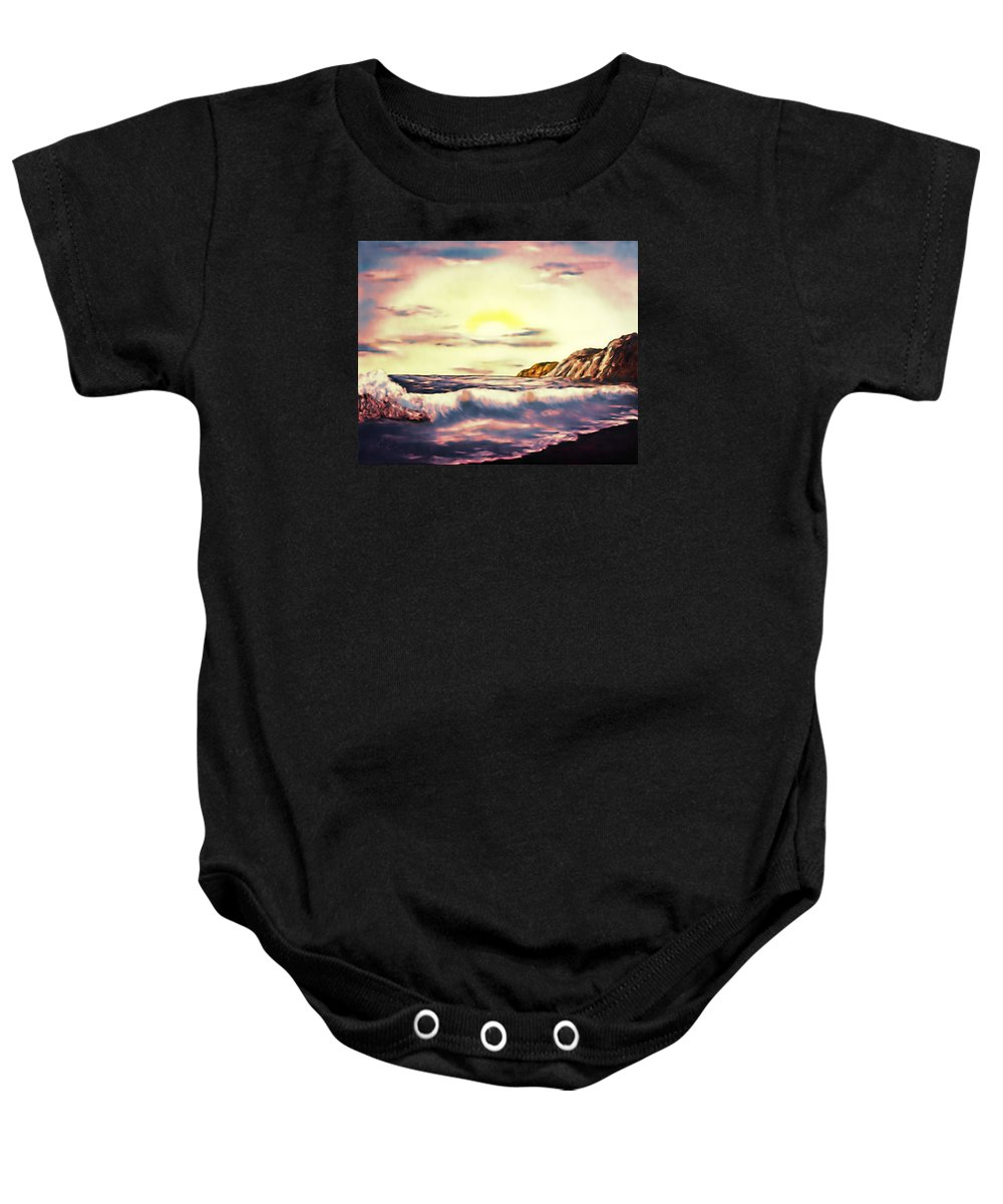 Sunset Baby Onesie featuring the painting Sunset Beach Pastel Splash - Elegance With Oil by Claude Beaulac