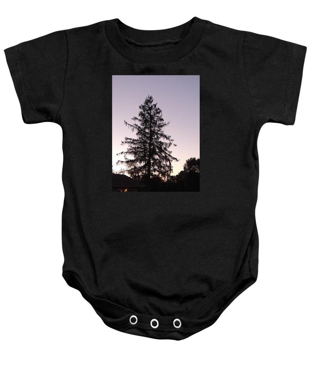 Sunset Baby Onesie featuring the photograph Sunset Behind The Pines by Diane Hester