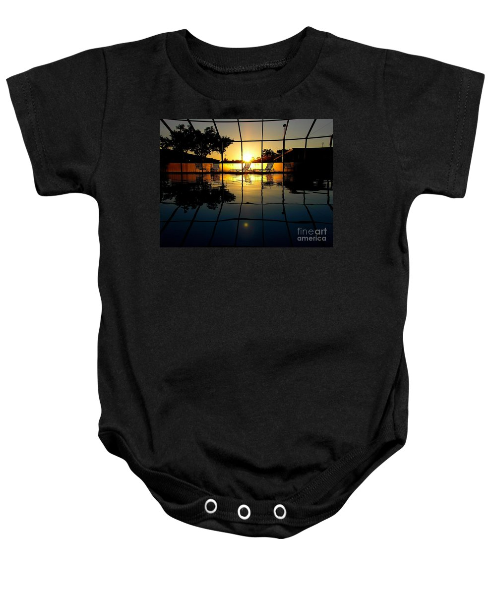 Sunset Baby Onesie featuring the photograph Sunset By The Pool by Robert Meanor