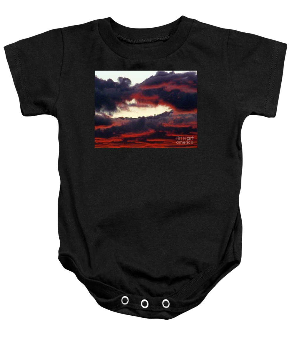 Sunset Baby Onesie featuring the photograph Sunset Formation by Brian Commerford