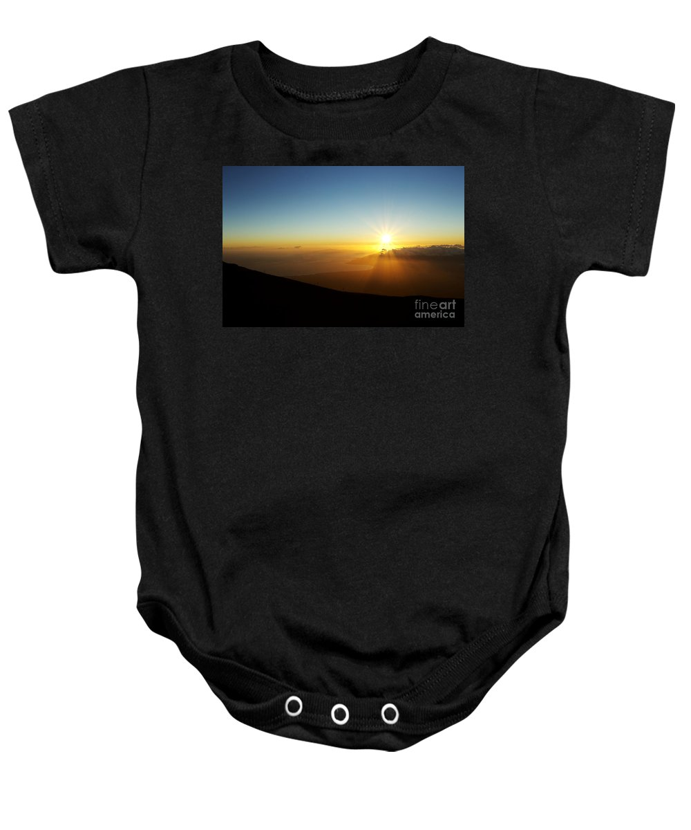 Altitude Baby Onesie featuring the photograph Sunset From Haleakala Crater by MakenaStockMedia - Printscapes