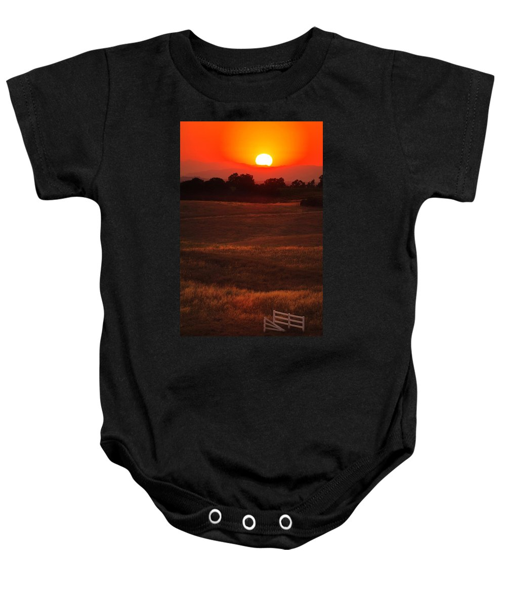 Sunset Baby Onesie featuring the photograph Sunset Gate by Jill Reger