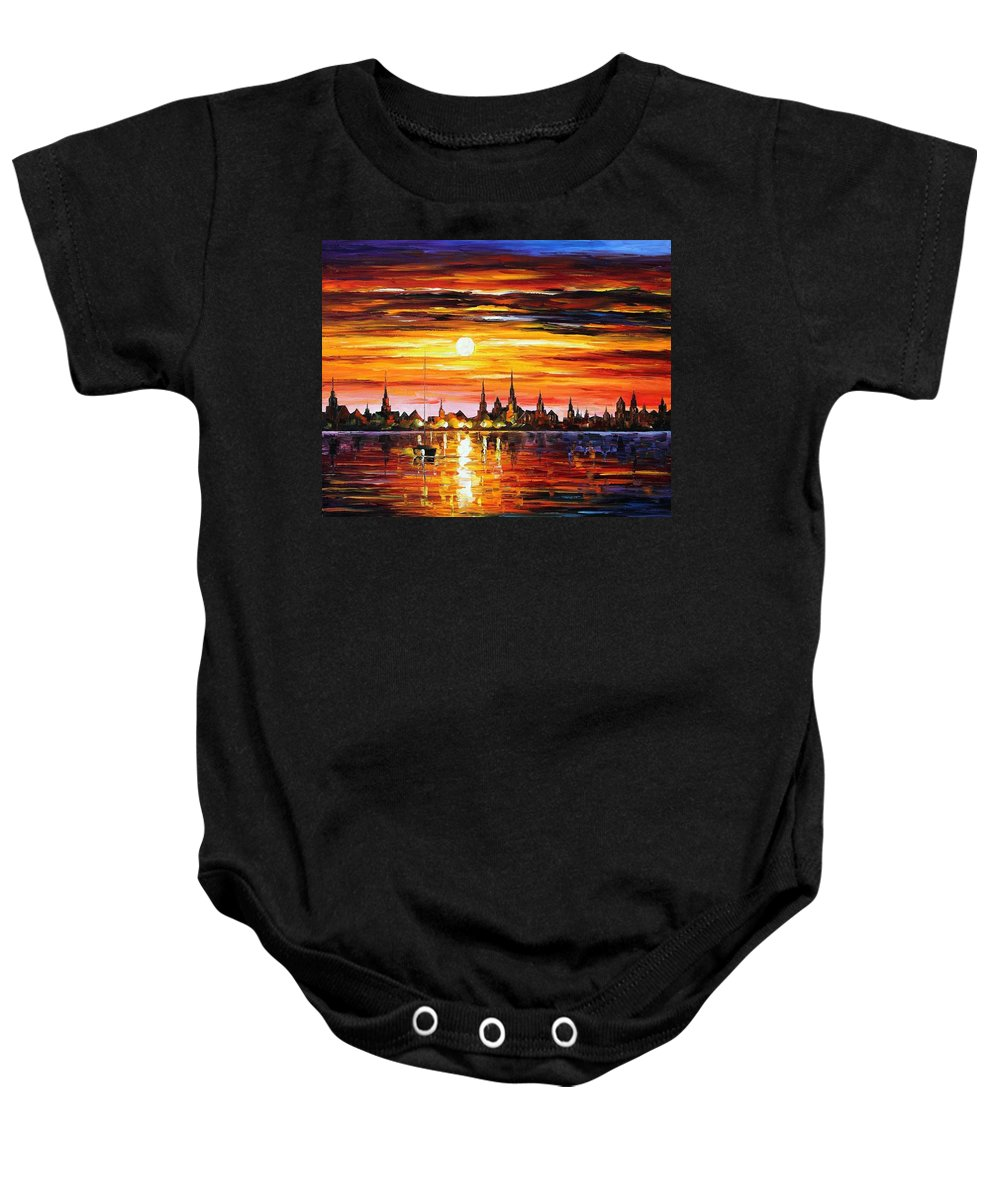 Afremov Baby Onesie featuring the painting Sunset In Barcelona by Leonid Afremov