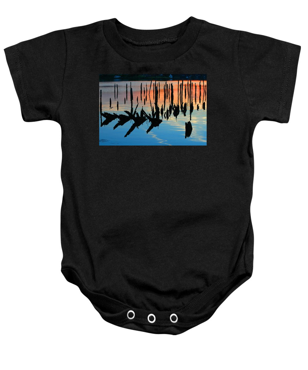 Clay Baby Onesie featuring the photograph Sunset In Colonial Beach Virginia by Clayton Bruster