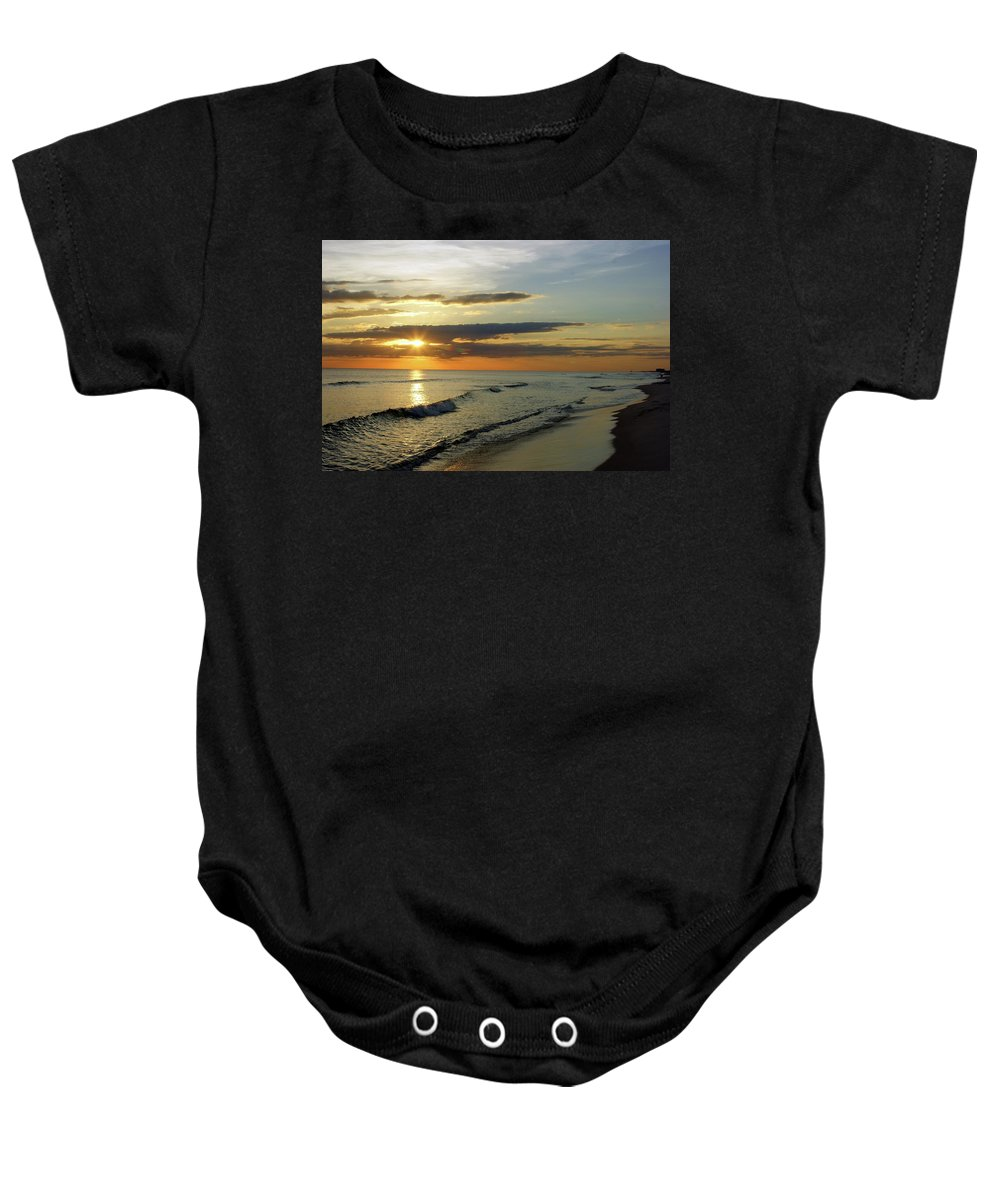 Landscape Baby Onesie featuring the painting Sunset by Janette Legg