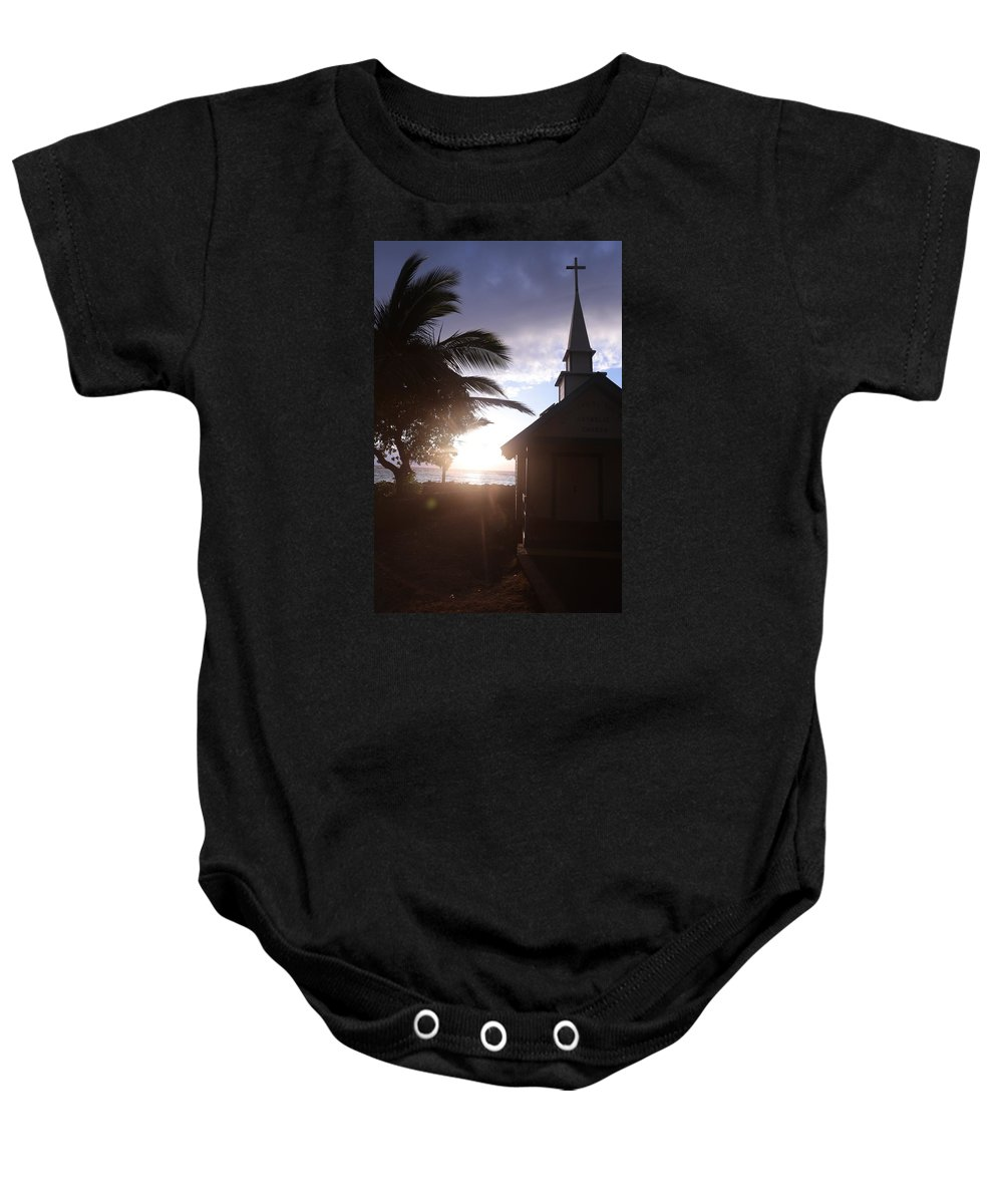 Palm Baby Onesie featuring the photograph Sunset On Kona Church by Nelda Mays