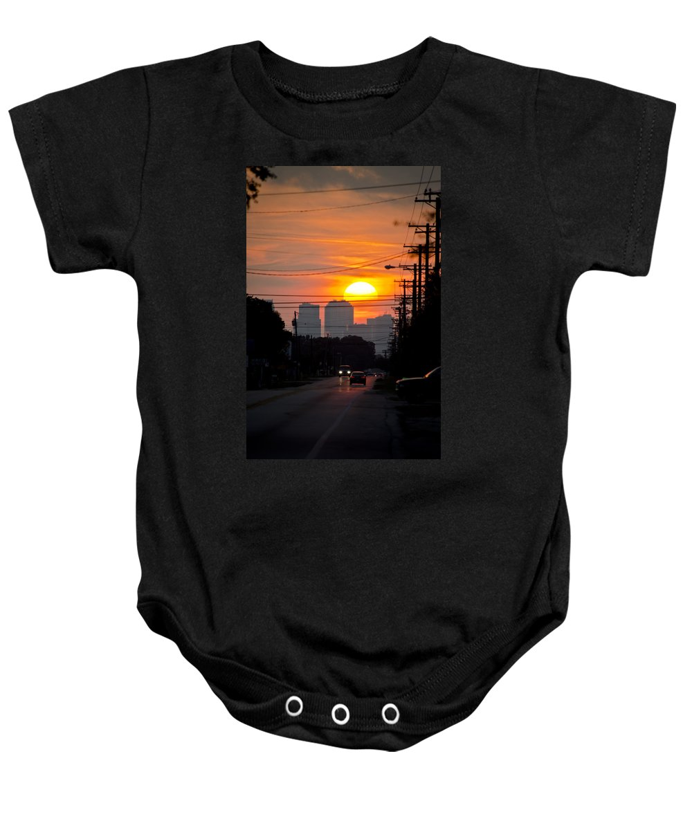 Setting Sun Baby Onesie featuring the photograph Sunset On The City by Carolyn Marshall