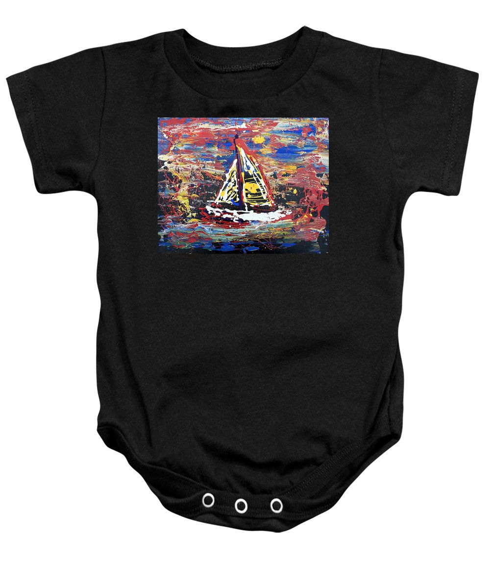 Sailboat Baby Onesie featuring the painting Sunset On The Lake by J R Seymour