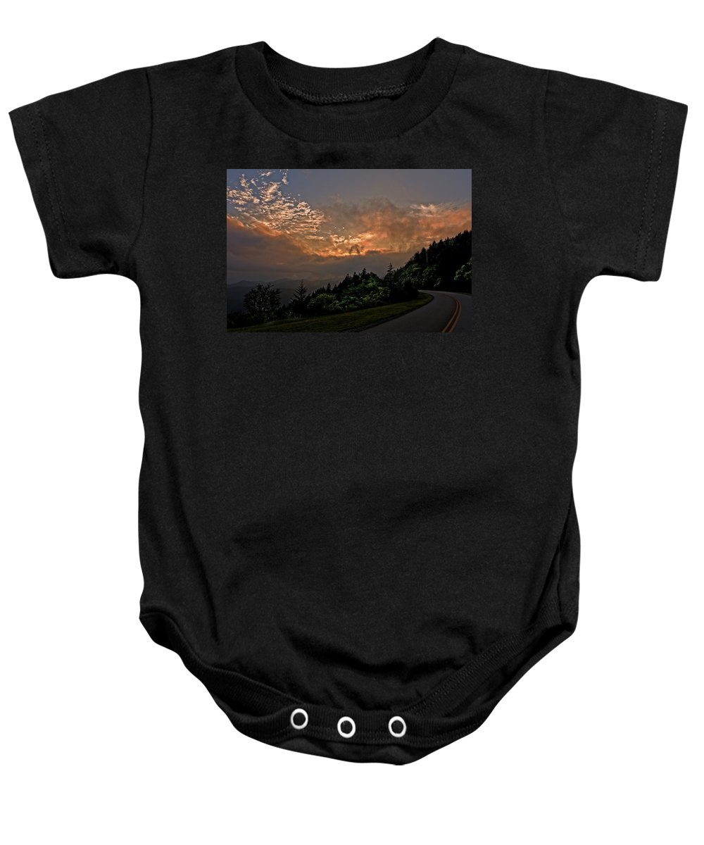 Blue Ridge Parkway Baby Onesie featuring the photograph Sunset On The Parkway by Barbara Hayton