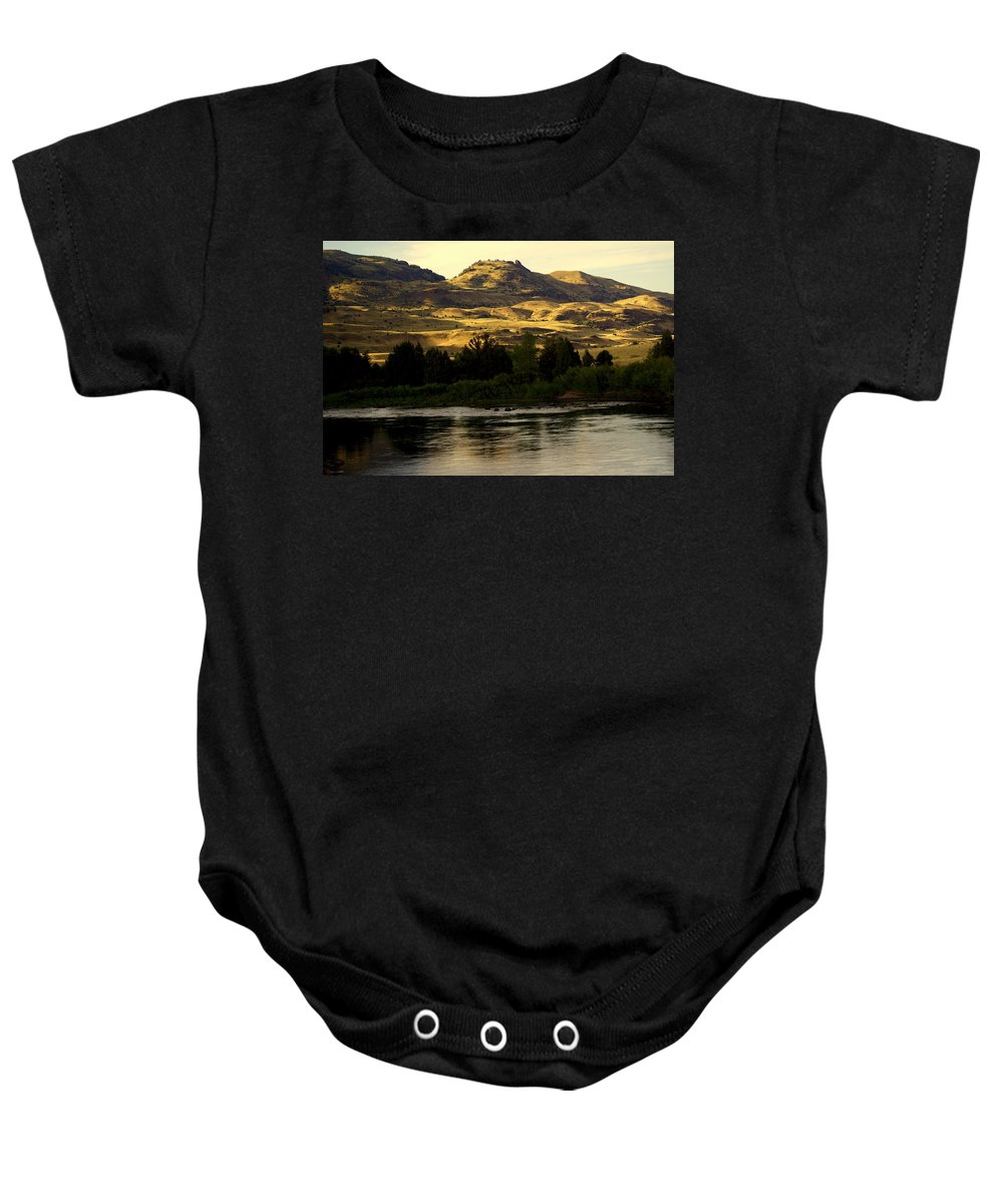 Yellowstone River Baby Onesie featuring the photograph Sunset On The Yellowstone by Marty Koch