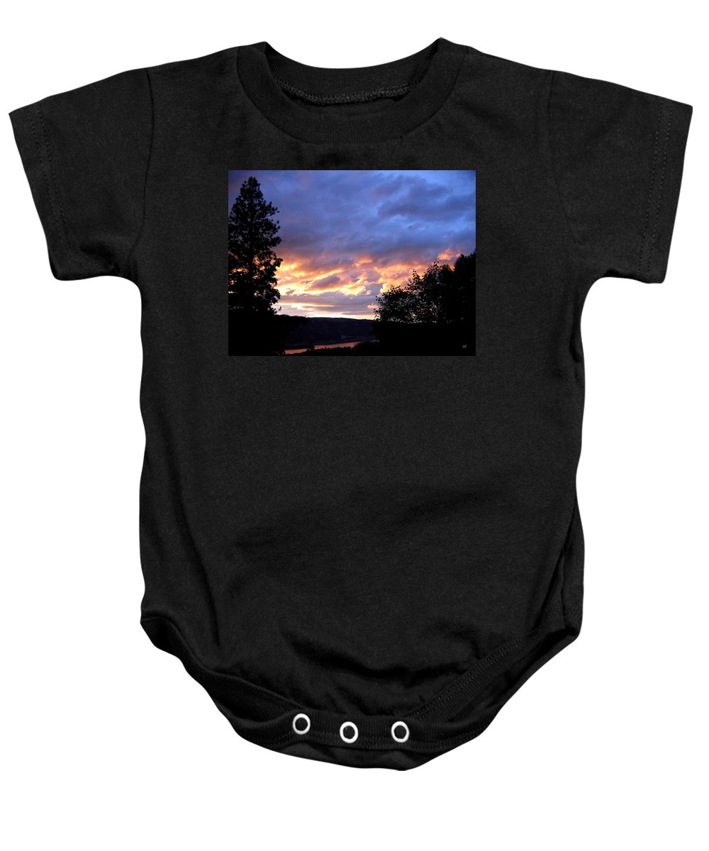 Sunset Baby Onesie featuring the photograph Sunset Over Kalamalka by Will Borden
