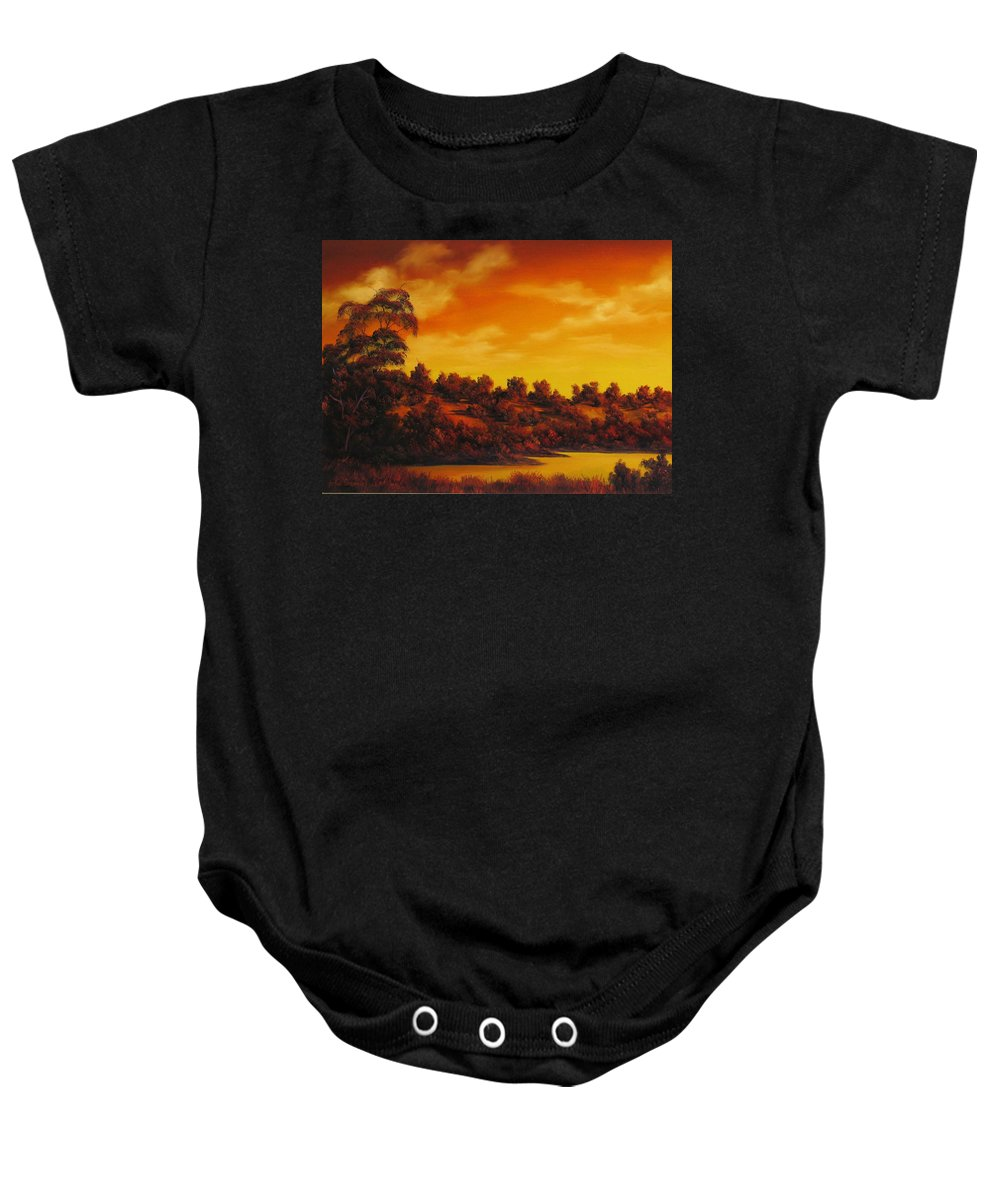 Landscape Sunset Baby Onesie featuring the painting Sunset Over River by John Cocoris