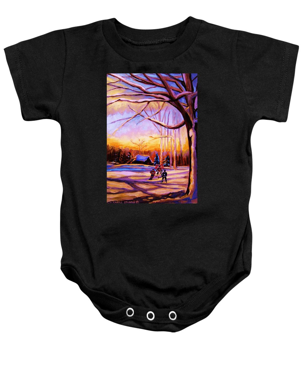 Sunset Over Hockey Baby Onesie featuring the painting Sunset Over The Hockey Game by Carole Spandau