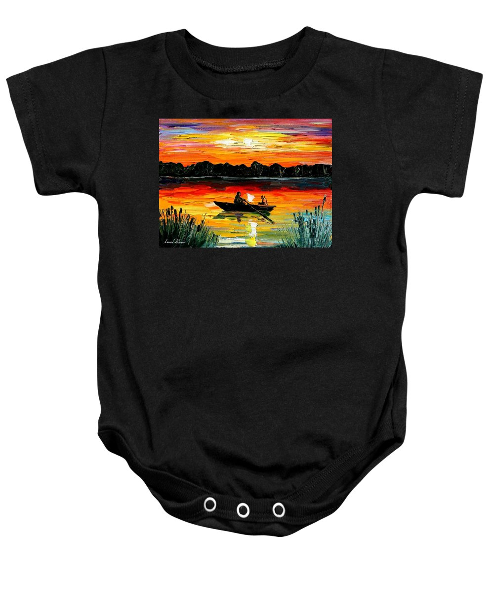 Boat Baby Onesie featuring the painting Sunset Over The Lake by Leonid Afremov