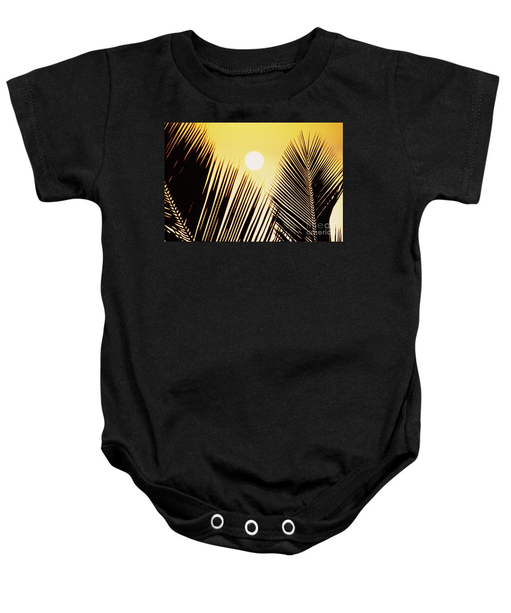 Beautiful Baby Onesie featuring the photograph Sunset Palm Fronds by Joe Carini - Printscapes