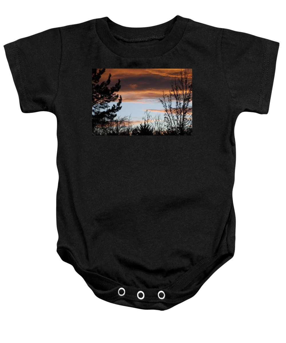 Sunset Baby Onesie featuring the photograph Sunset Thru The Trees by Rob Hans
