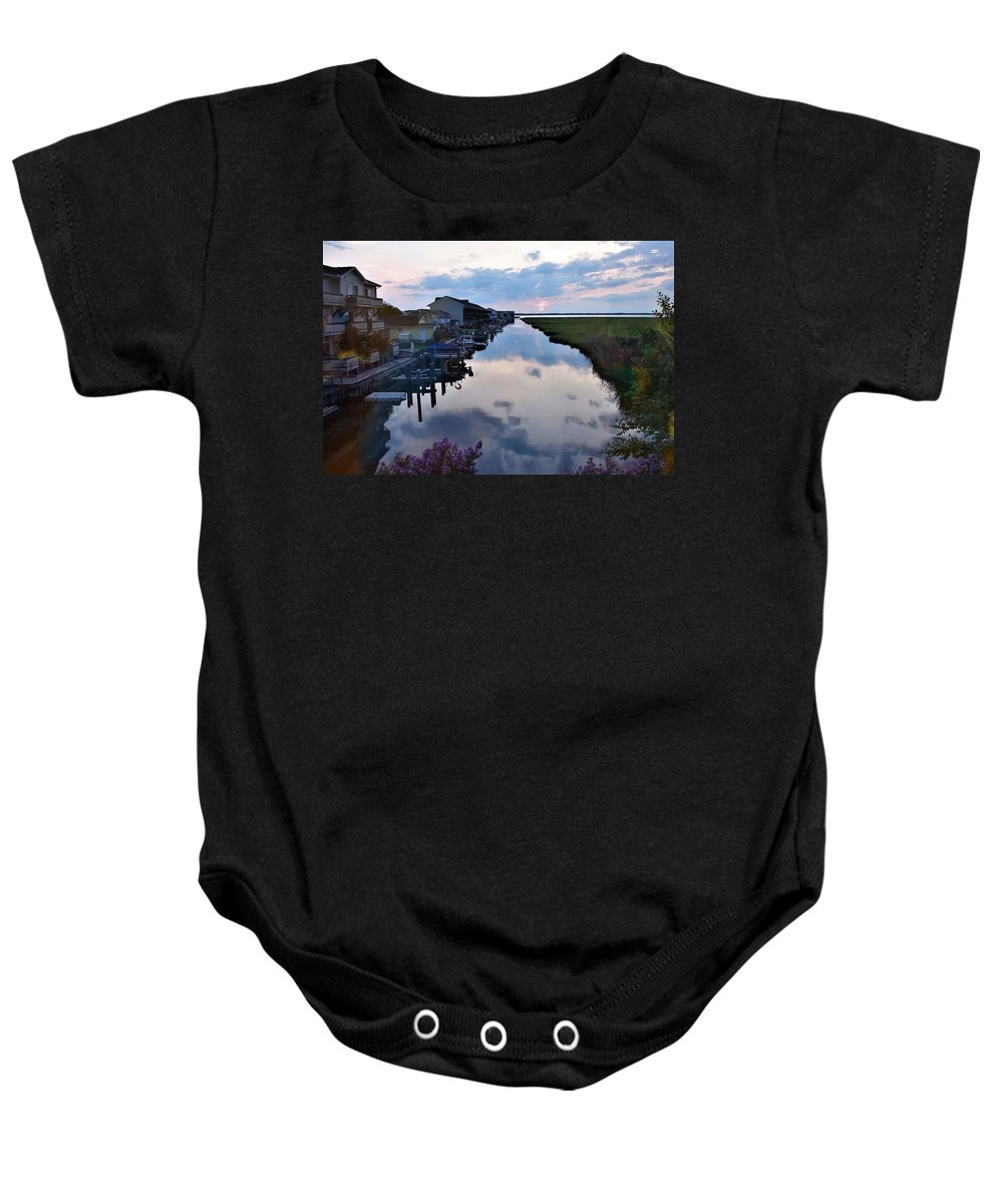 Sunset Baby Onesie featuring the photograph Sunset View At The Art League Of Ocean City - Maryland by Kim Bemis