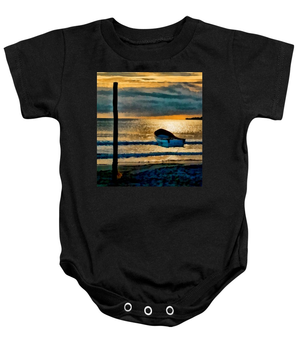 Sunset Baby Onesie featuring the photograph Sunset With Boat by Galeria Trompiz
