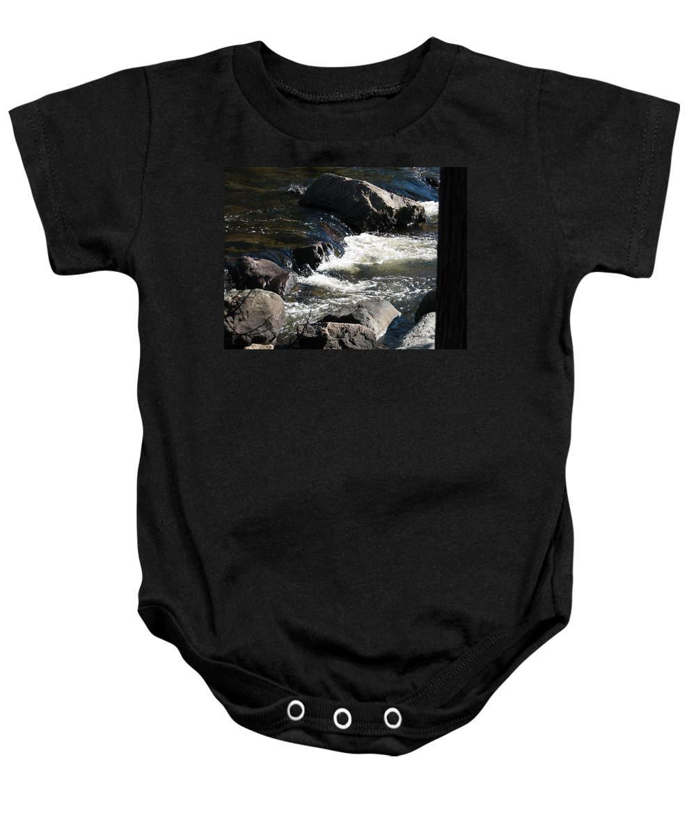 Waterfall Baby Onesie featuring the photograph Sunshine On The Fall by Kelly Mezzapelle