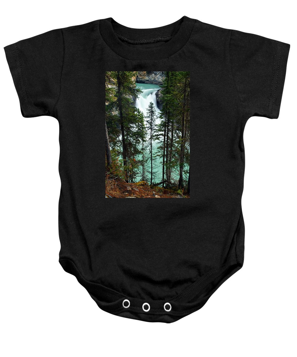 Sunwapta River Baby Onesie featuring the photograph Sunwapta Canyon by Larry Ricker