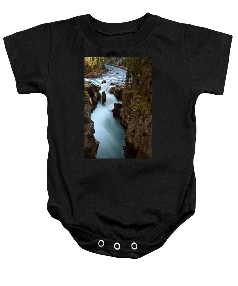 Gorge Baby Onesie featuring the digital art Sunwapta Falls In Jasper National Park by Mark Duffy