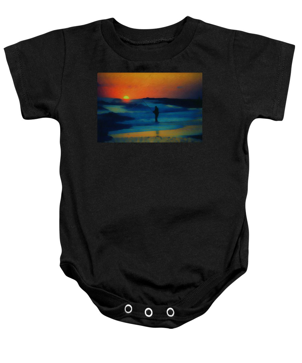 Digital Photograph Baby Onesie featuring the photograph Surf Fishing by David Lane