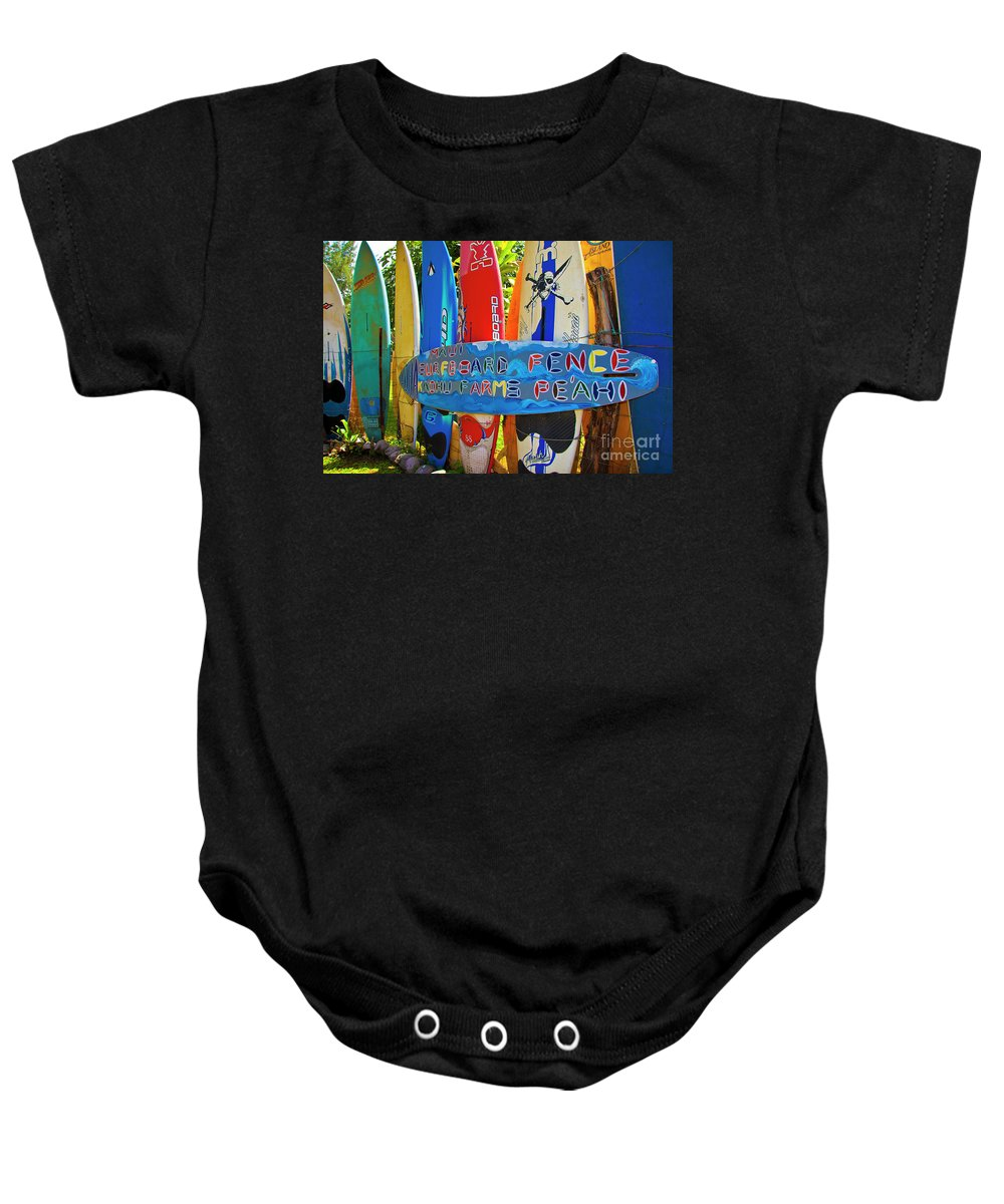 Surfboards Baby Onesie featuring the photograph Surfboard Fence-the Amazing Race by Jim Cazel