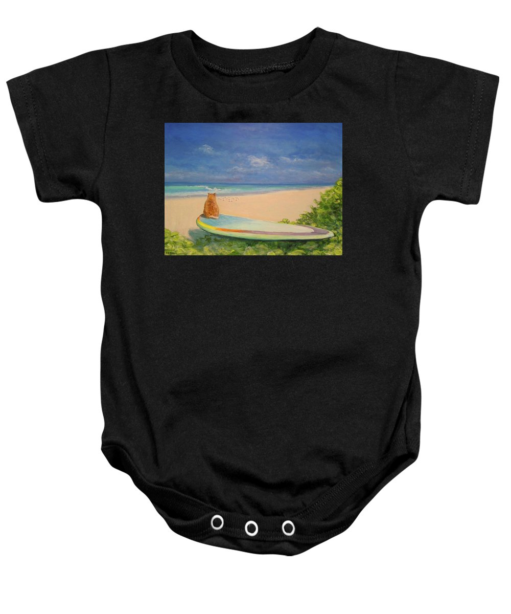 Cat Baby Onesie featuring the painting Surfer Cat by Paul Emig