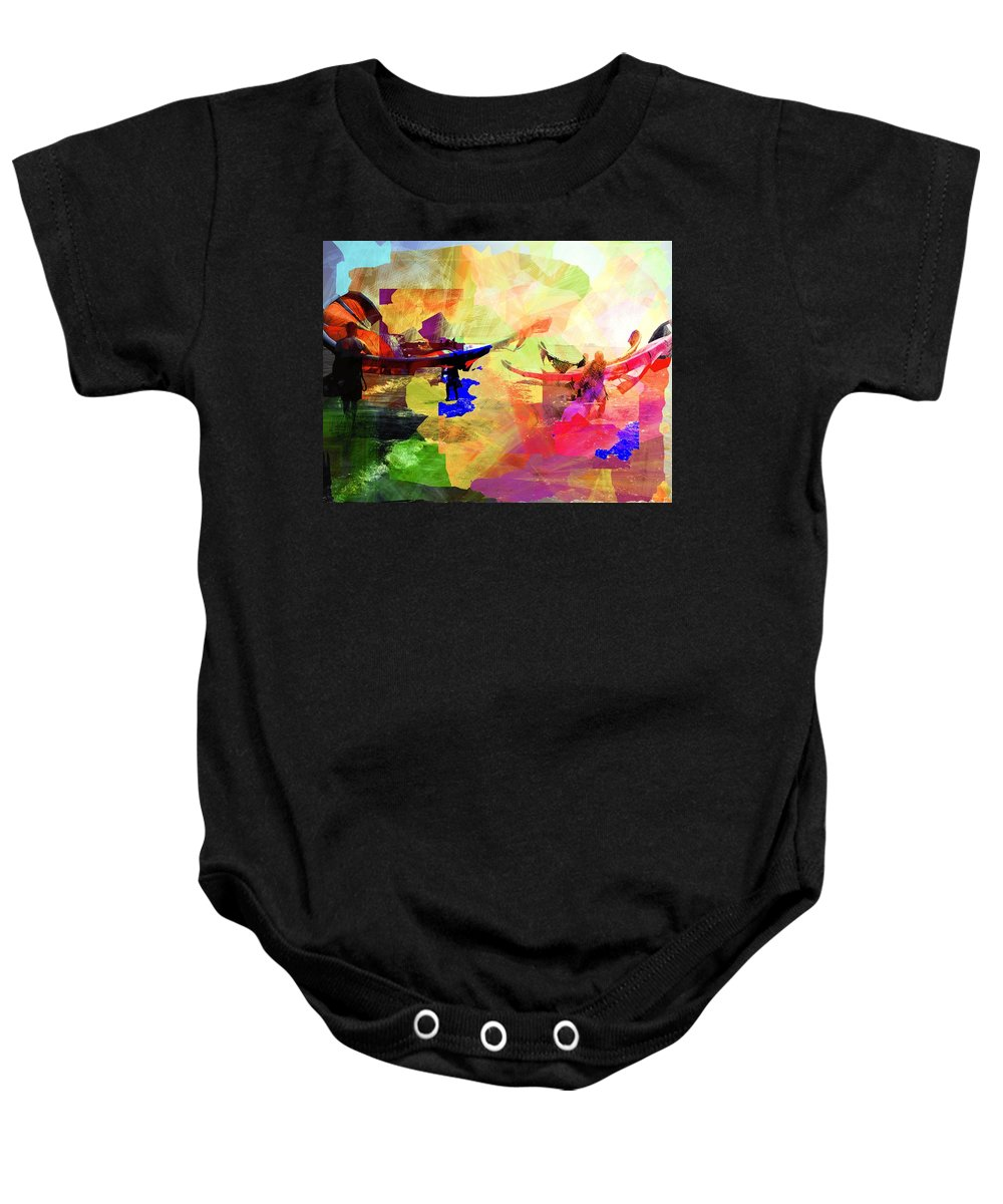 Seaside Baby Onesie featuring the digital art Surfers by Agnes V