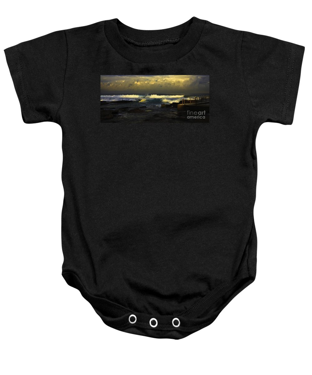 Landscape Seascape Surfing Surfer Storm Baby Onesie featuring the photograph Surfing The Storm by Sheila Smart Fine Art Photography