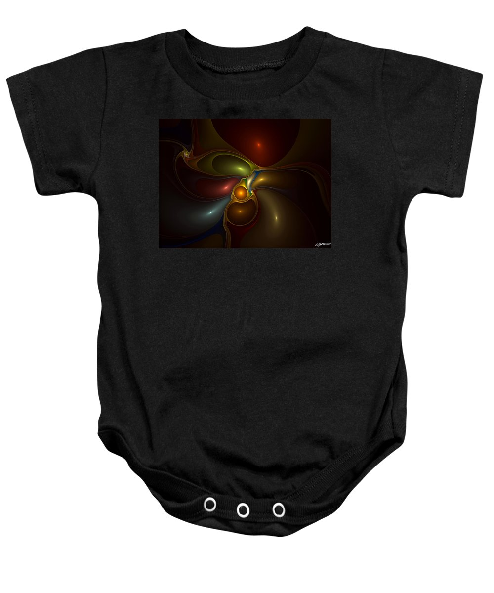Abstract Baby Onesie featuring the digital art Surrounded by Casey Kotas