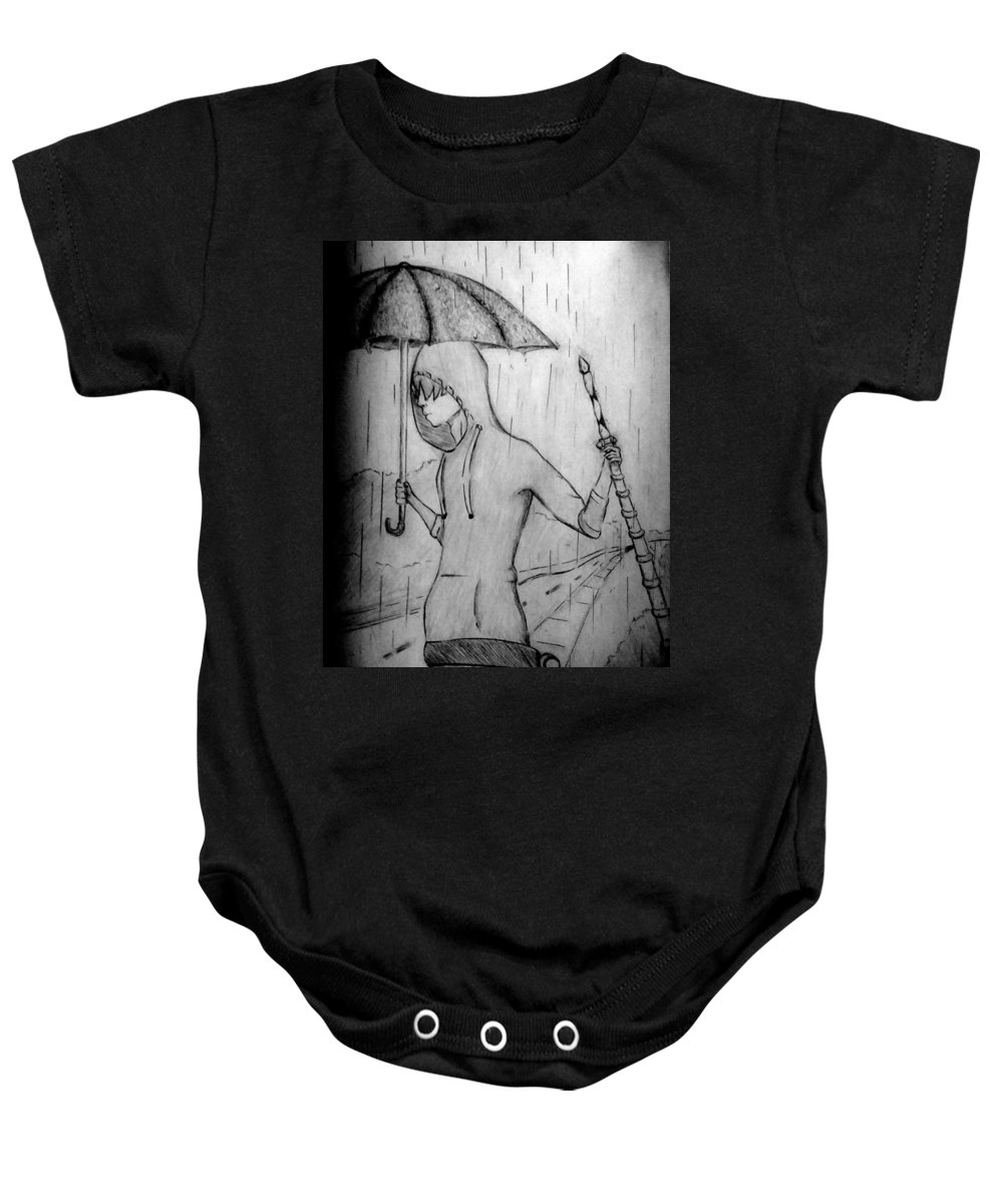 Rain Baby Onesie featuring the drawing Suspense by Isaiha Phillips