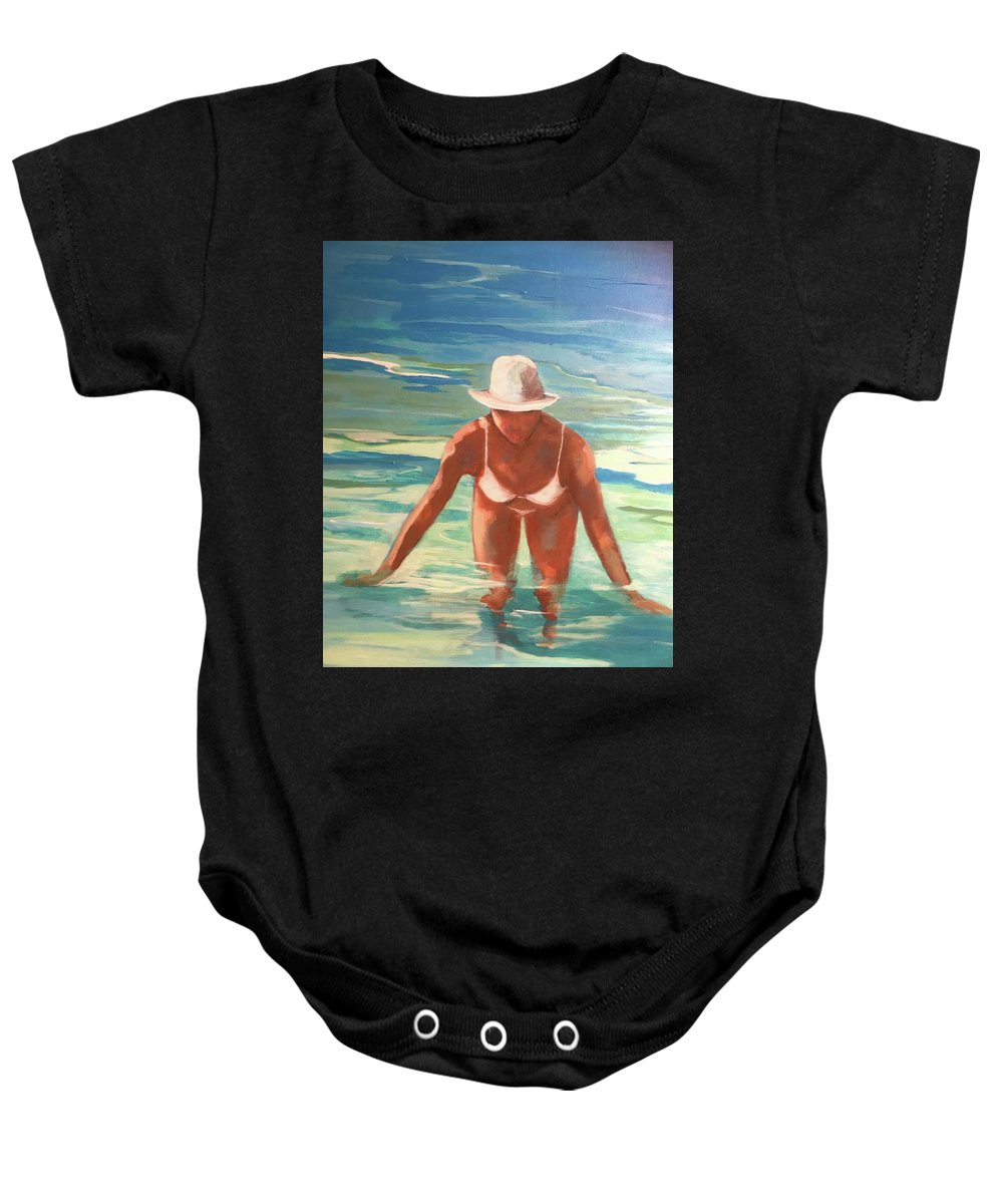 Figurative Baby Onesie featuring the painting Swimmer In Blue by Anne Carter
